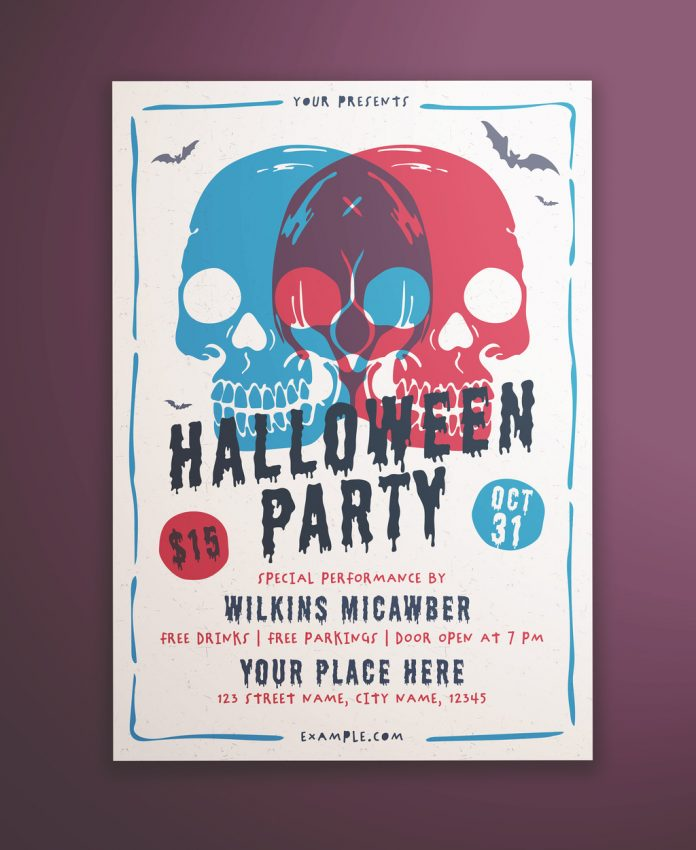 Halloween Party Flyer Layout with Illustrative Skulls from KMZVR Lab