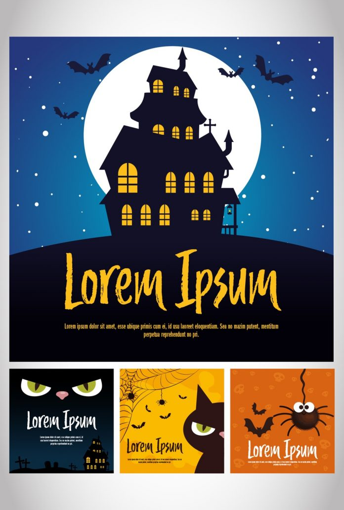 Square Illustrated Halloween Banner Layouts from Gstudio Templates