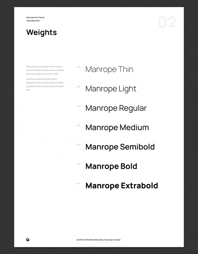 Manrope font family, 7 weights