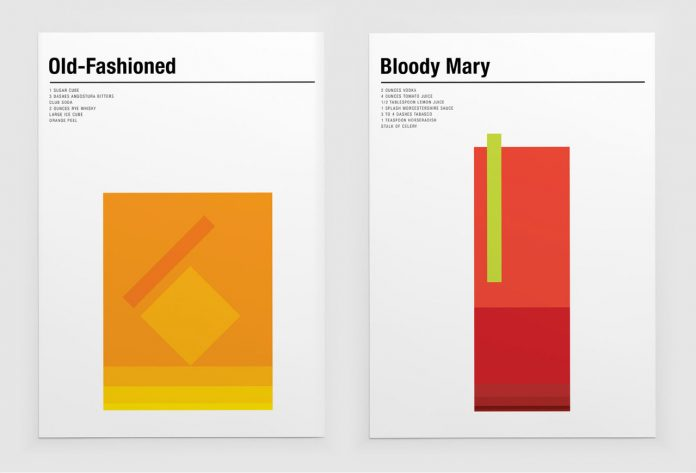 Minimalist prints of classic cocktails created by Nick Barclay.