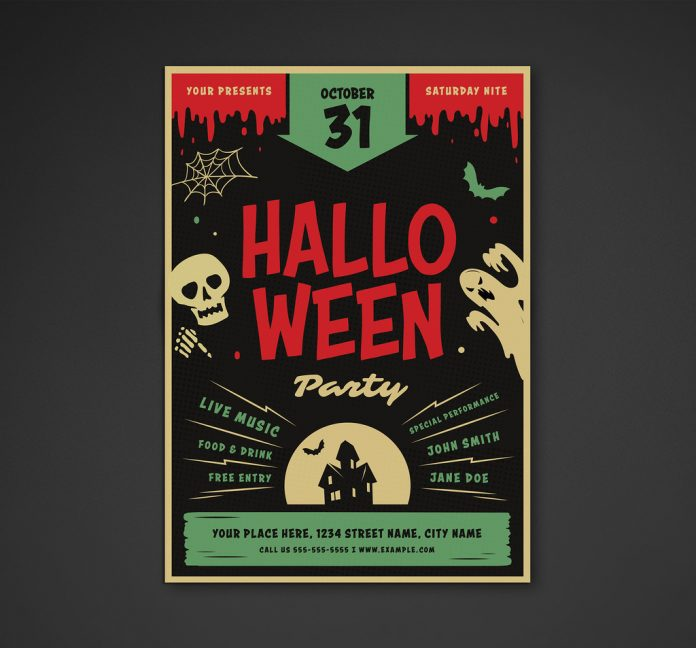 Retro Halloween Party Flyer Layout from vynetta