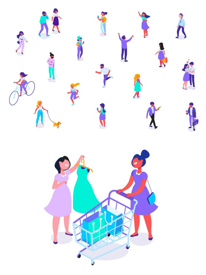 Vector graphics of isolated people: leisure time, outdoor, and shopping.