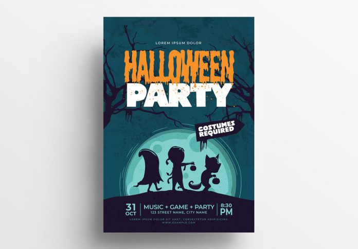 Halloween Flyer Layout with Cartoon-Style Illustrations from BrandPacks