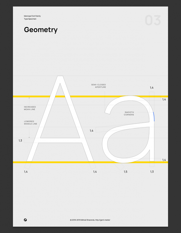 Manrope font family, Geometry