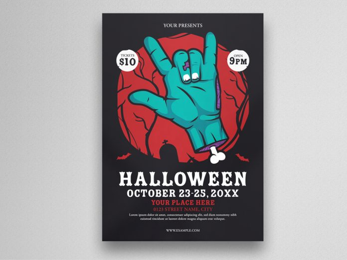 Halloween Party Flyer Layout with Zombie Hand Illustration from Eightonesix