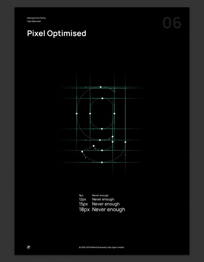 Manrope font family, Pixel optimized