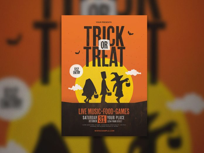 Graphic Trick or Treat Halloween Flyer Layout from Lilynthesweetpea