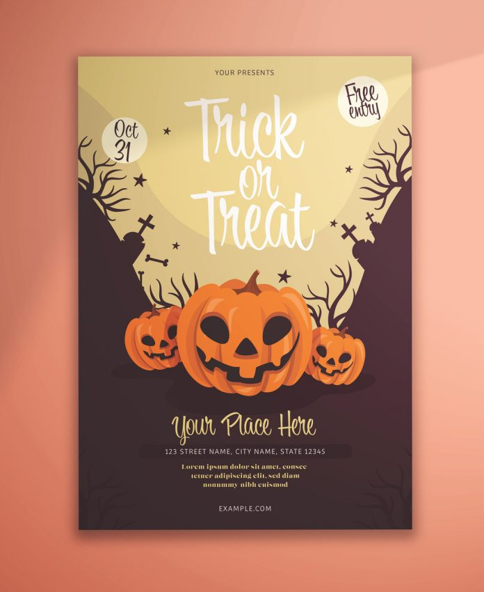 Halloween Flyer Layout with Illustrative Pumpkins from KMZVR Lab