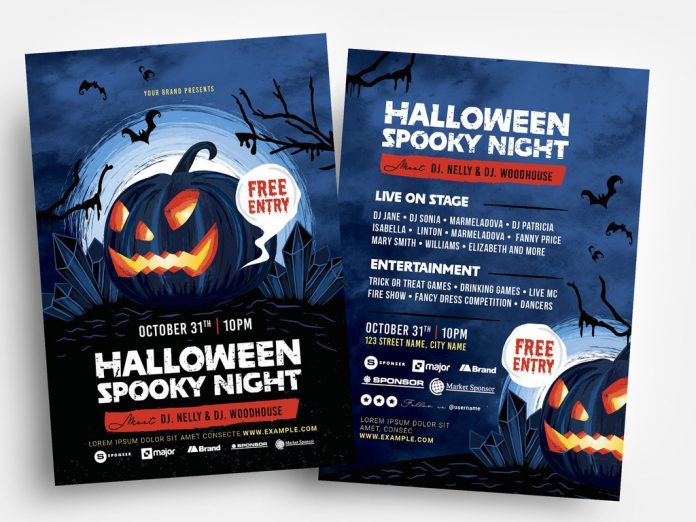 Halloween Spooky Illustrated Flyer Layout from BrandPacks