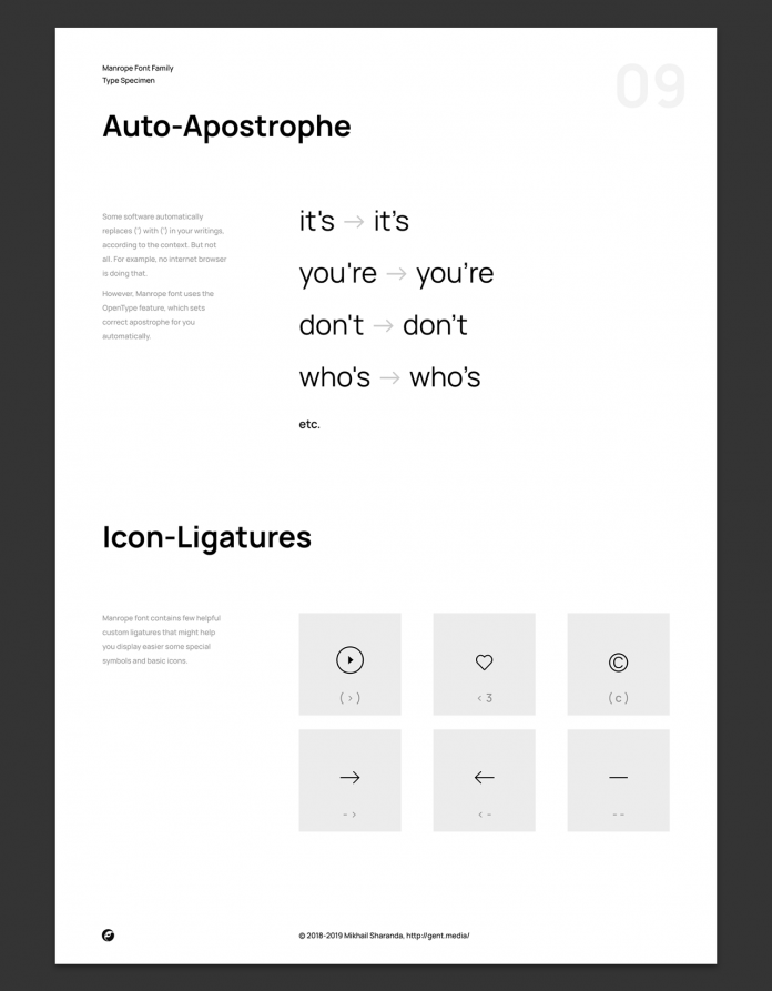 Manrope font family, Auto-apostrophe and icon-ligatures