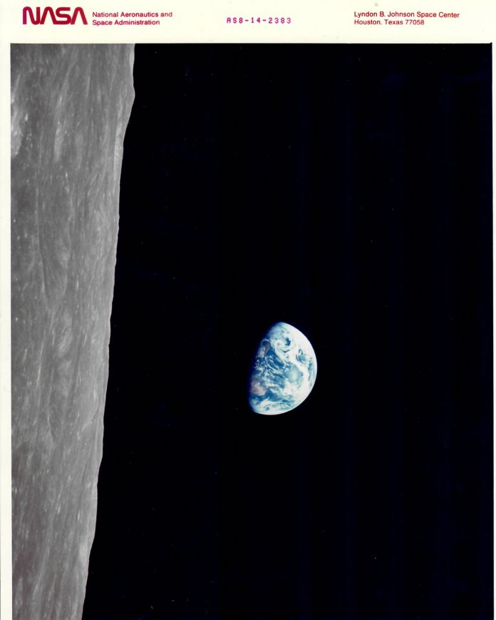 View from the moon towards the earth.