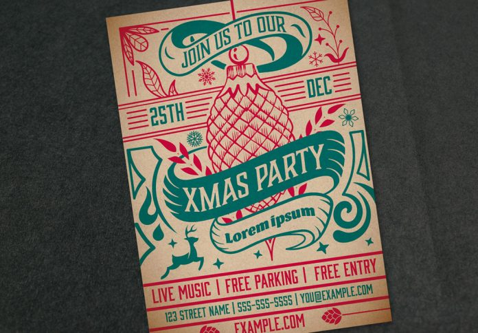 Adobe Illustrator template: Christmas party invitation layout by Roverto Castillo.