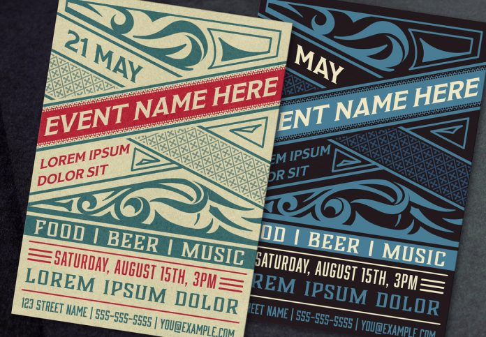Adobe Illustrator template: event poster layout with ornamental elements designed by Roverto Castillo.