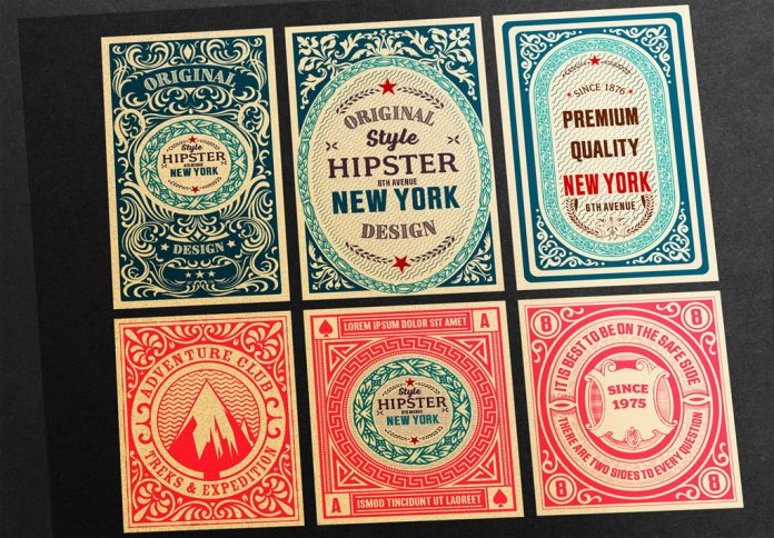 Adobe Illustrator templates: a set of 6 vintage labels made by Roverto Castillo.