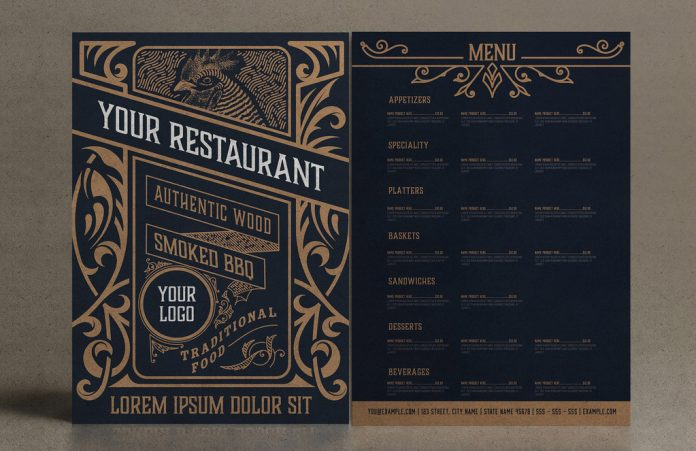 Adobe Illustrator template: vintage restaurant menu layout with tan ornaments by Roverto Castillo.
