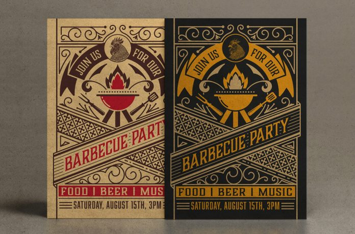 Adobe Illustrator—vintage summer party invitation template by Roverto Castillo.