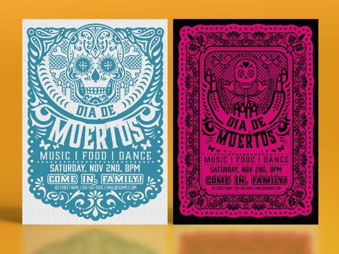 Dia de los Muertos Paper Cutout Flyer Set by Roverto Castillo