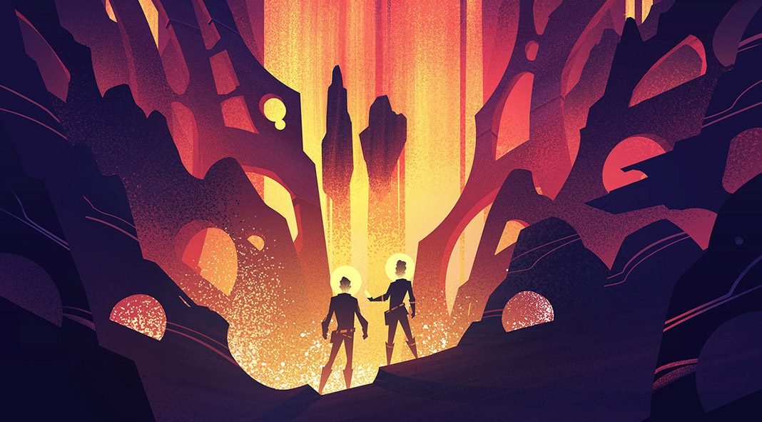 Futuristic illustrations created by Brian Miller for the Space Park board game