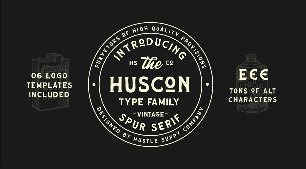 HUSCON—vintage font from Hustle Supply Co.