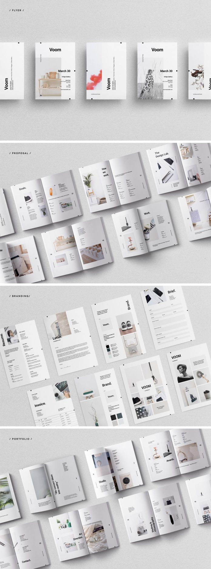 Overview of the Voom branding Adobe InDesign collection from Moscovita.