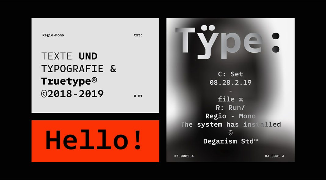 Regio Mono font family from Degarism Studio.