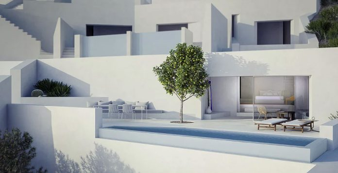 The building is characterized by numerous terraces that perfectly adapt to the landscape.