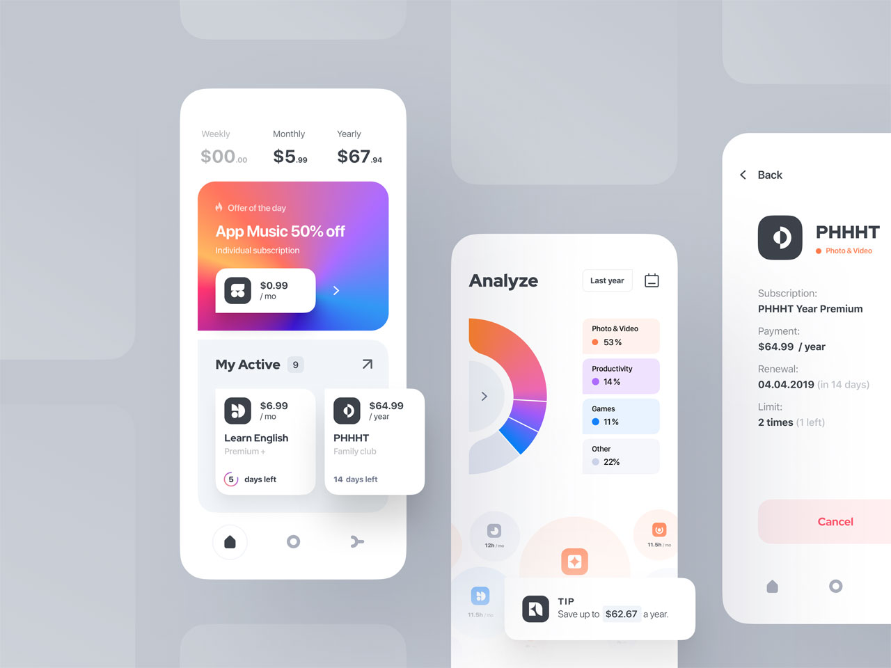 iOS app subscription manager