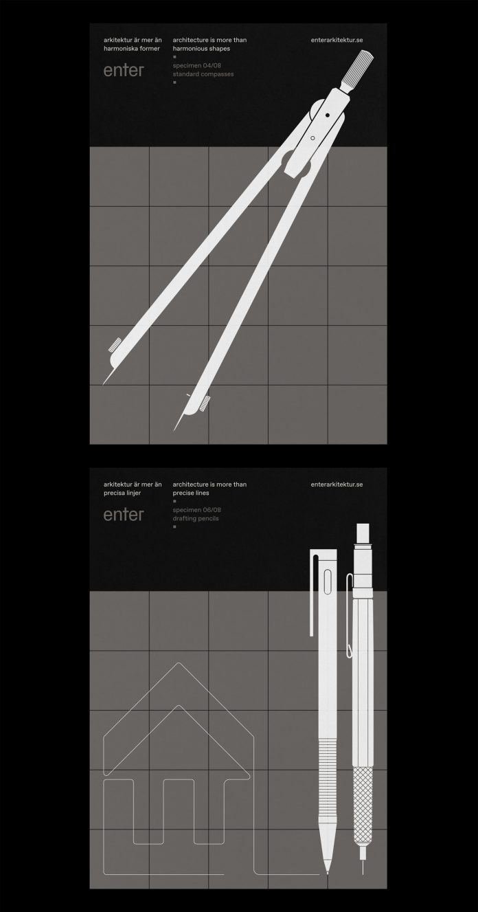 Graphic design, branding, and web design by Lundgren + Lindqvist for Enter Arkitektur, a Swedish architectural practice.