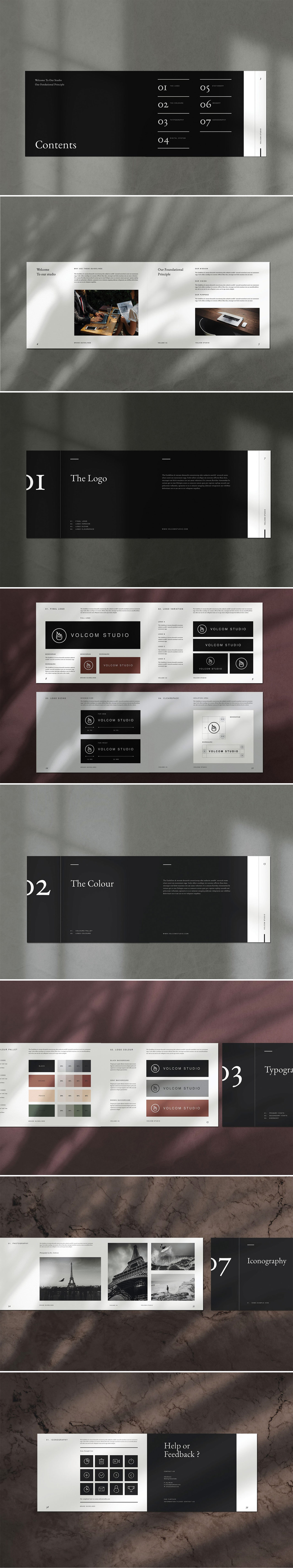 Adobe InDesign brand guidelines template by graphic design studio Occy.