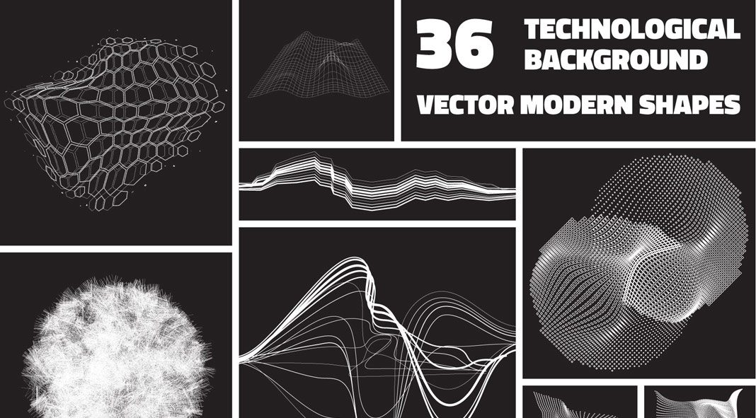 36 technological vector shapes.