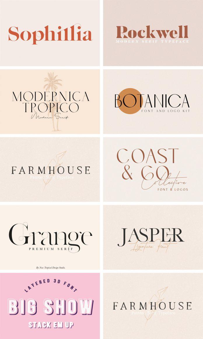 A Modern Vintage Font Bundle by New Tropical Design.