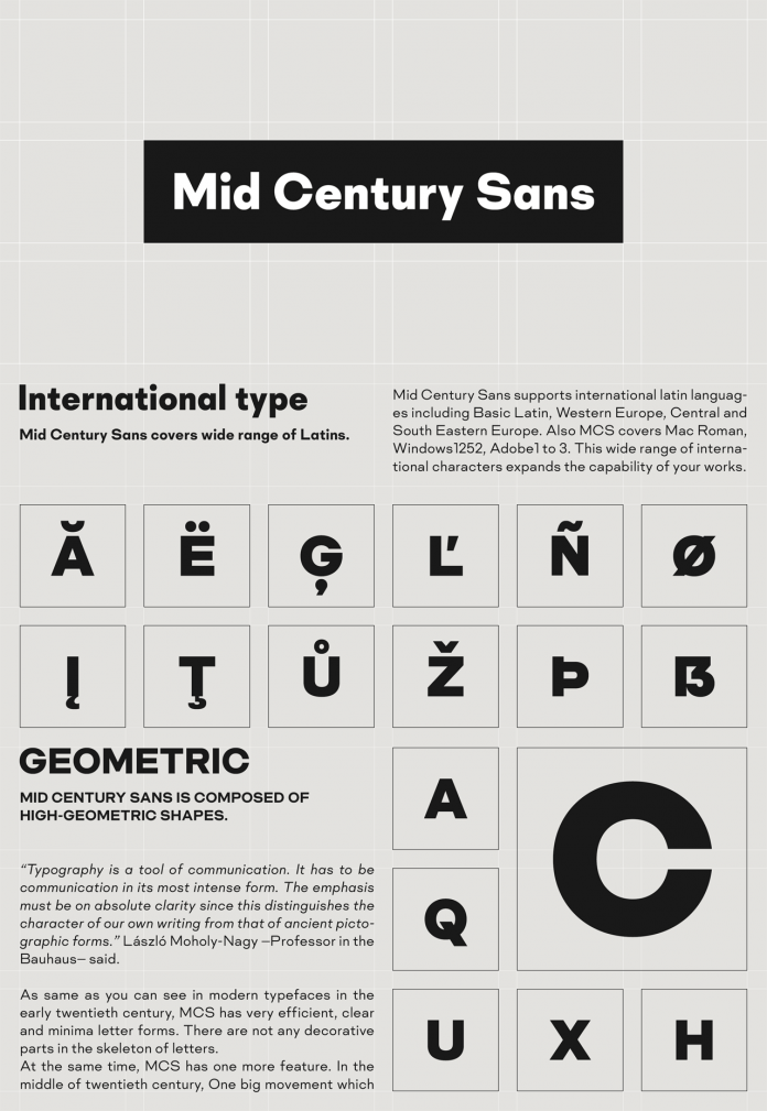 Mid Century Sans font family from Dharma Type.
