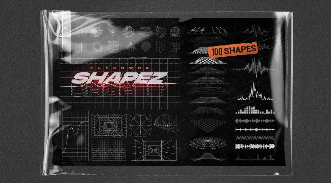 100 Retro-Futuristic Graphic Shapes
