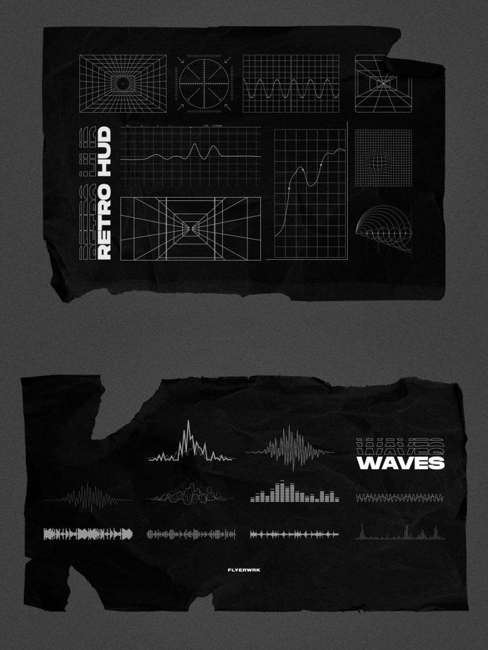 100 retro-futuristic graphics.