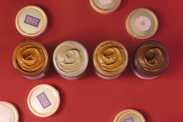 Branding and packaging design by graphic design studio Futura for nut butter brand Buddy Buddy