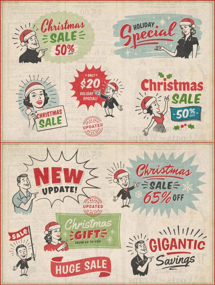 1950s retro style vintage ad templates for Adobe Illustrator and Photoshop created by DISTRICT 62 STUDIO.