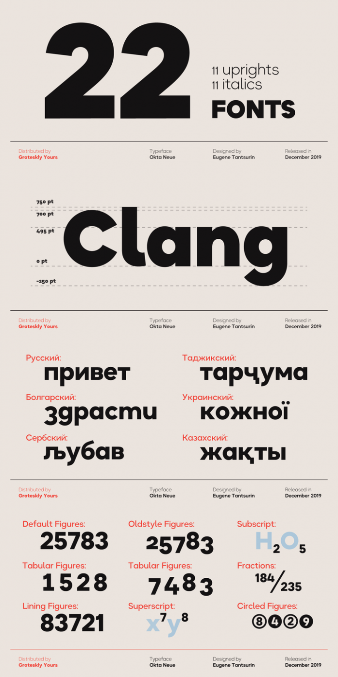 Okta Neue font family by Groteskly Yours.