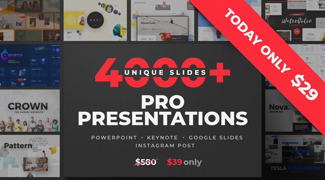 PowerPoint, Keynote, and Google Slides templates with more than 4000 unique slides plus Instagram posts.