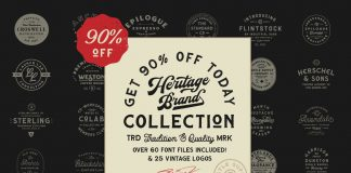 The Heritage Brand Collection — 60+ font files and 25 vintage logo templates from Hustle Supply Co.