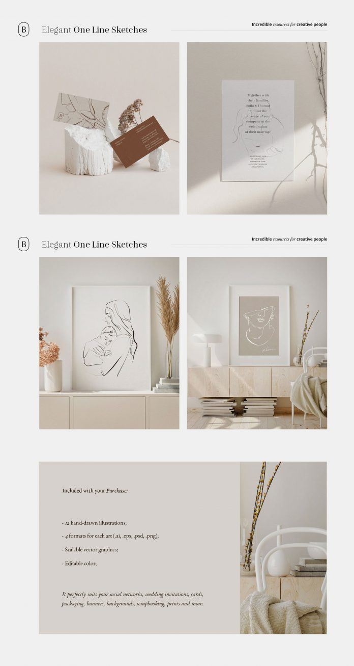 Elegant One Line Sketches for Adobe Photoshop and Illustrator.
