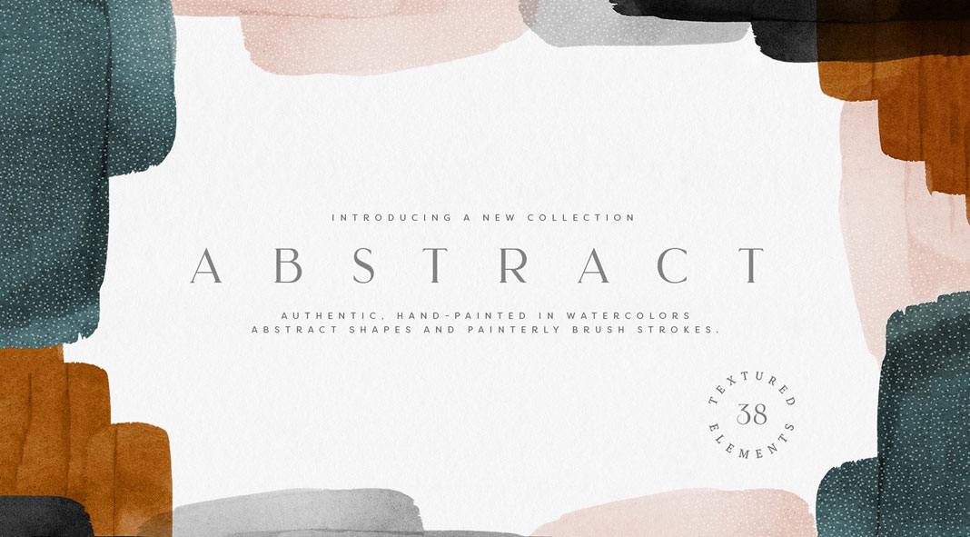 Abstract watercolor shapes for Adobe Photoshop and InDesign.