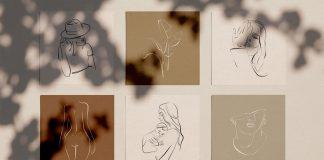 Elegant One Line Sketches for Adobe Photoshop and Illustrator.
