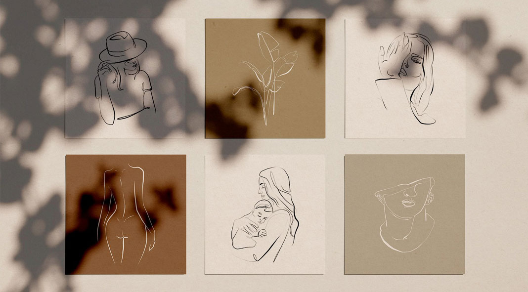 Elegant One Line Sketches for Adobe Photoshop and Illustrator