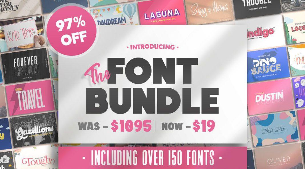 HUGE Font Bundle (162 Fonts) from Salt & Pepper Designs.