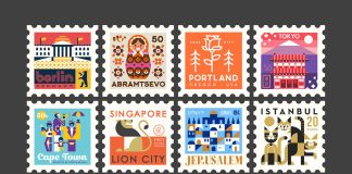 Town Squares: city stamps designed by the Makers Company.