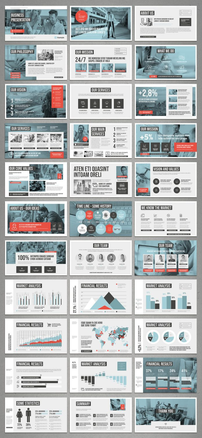Adobe InDesign pitch deck design template with white and pale blue plus coral accents.