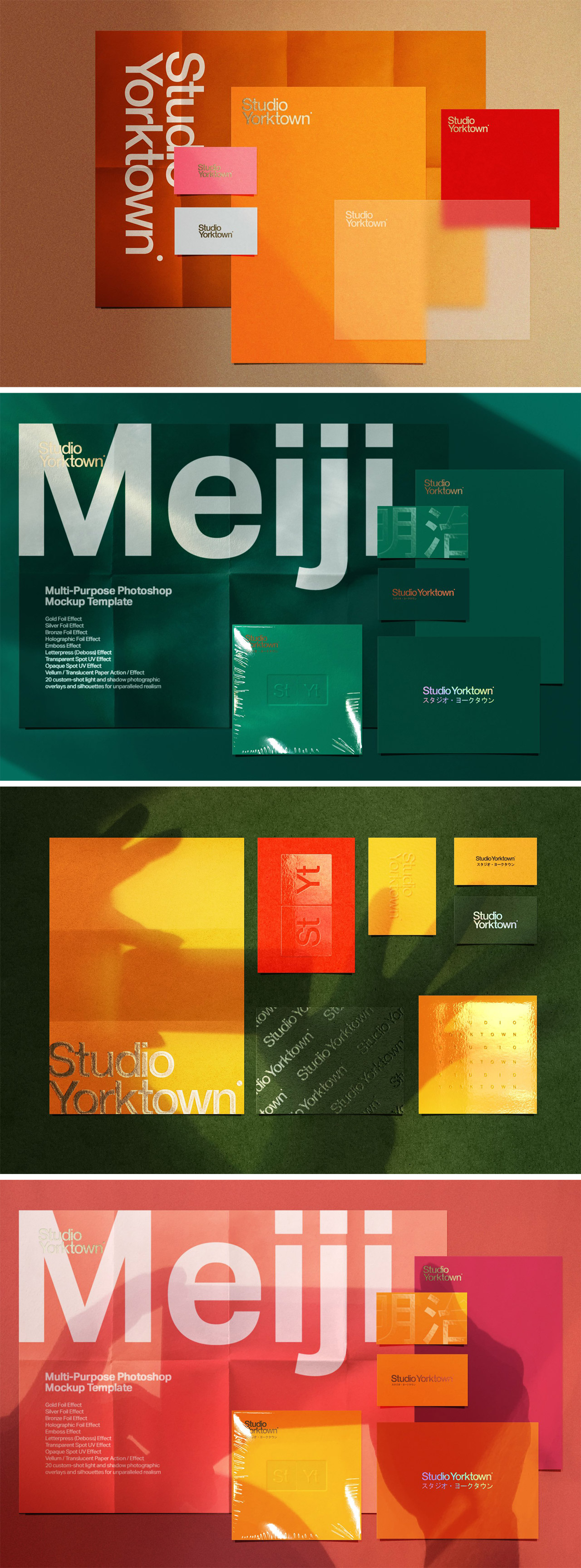 Meiji, a multi print effects mockup — Adobe Photoshop templates by Studio Yorktown.