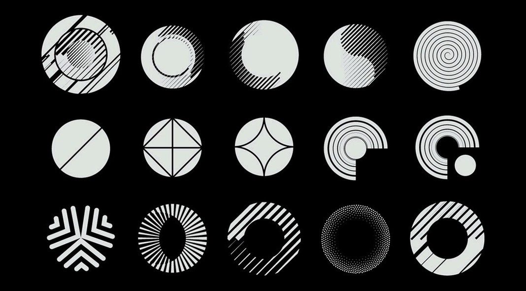 100 geometric vector shapes.