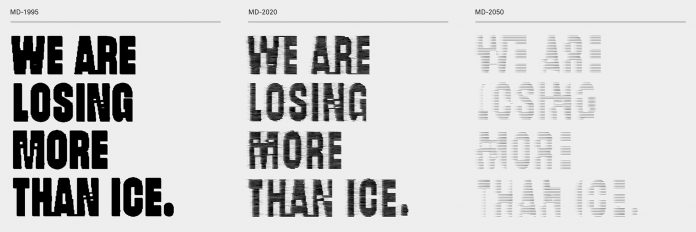 Meltdown Flags, a climate data initiative that visualizes the effects of global glacier retreat.