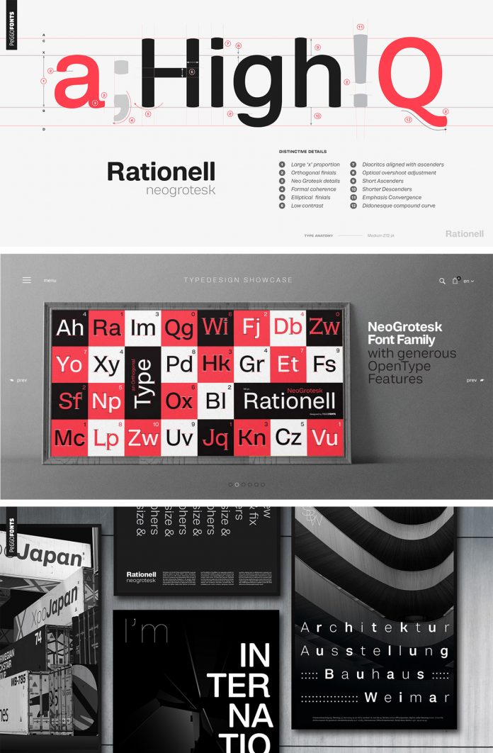 Rationell, a neogrotesk font family from PeGGO Fonts.